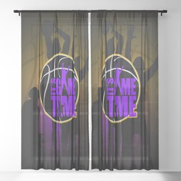 It's Game Time - Purple & Gold Sheer Curtain