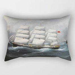 Vintage British Frigate Sailboat Painting (1881) Rectangular Pillow