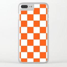 Cheerful Orange Checkerboard Clear iPhone Case