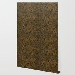 Vintage Art Nouveau woodcut on faux leather pattern Wallpaper