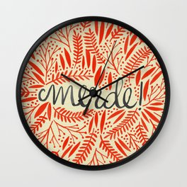 Pardon My French – Red on Cream Wall Clock