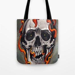 Skull in Flames Tote Bag