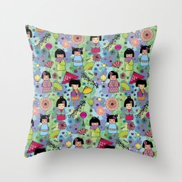 Japanese girls Throw Pillow