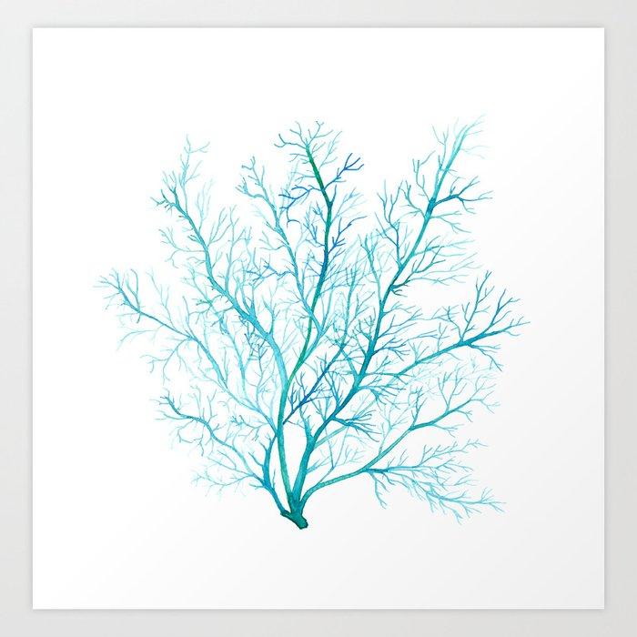 Blue sea fan coral art print by sandraovono society6 blue sea fan coral art print publicscrutiny Images
