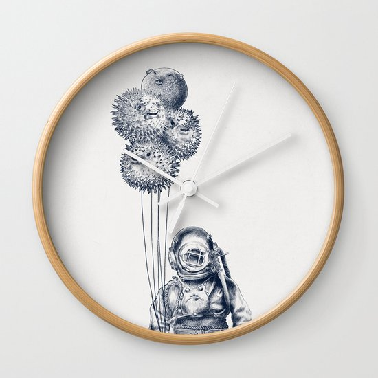 Balloon Fish - monochrome option Wall Clock
