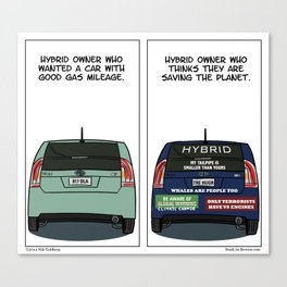 """""""On Hybrid Owners"""" - Stuck in Reverse comic Canvas Print"""