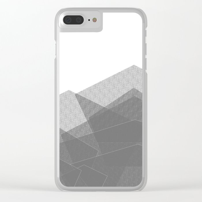 White Winter Skiing Mountain Climbing Clear iPhone Case