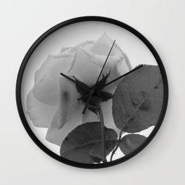 Rose White Flower Grey scale Closeup Wall Clock