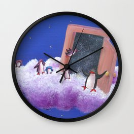 Big Penguin Opens Door to Galaxy of Possibilities for Other Penguins Wall Clock