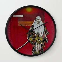 A Red Dawn Rises, and the Ancient Warrior Prepares for Battle  Wall Clock