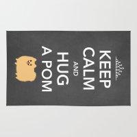 pomeranian Area & Throw Rugs featuring Keep Calm And Hug A Pom - Tan Pomeranian by Jenn Inashvili