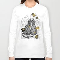 hats Long Sleeve T-shirts featuring Two Cats Without Hats by Judith Clay