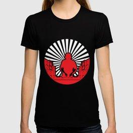 Sunburst DJ DeeJays Clubbing Turntables Music RED T-shirt