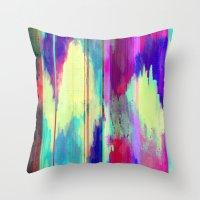 glitch Throw Pillows featuring Glitch by James McKenzie