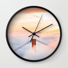 Golden Gate Bridge at Sunrise from Hawk Hill - San Francisco, California Wall Clock