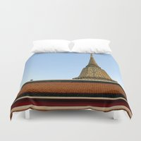 thailand Duvet Covers featuring temple in thailand by habish