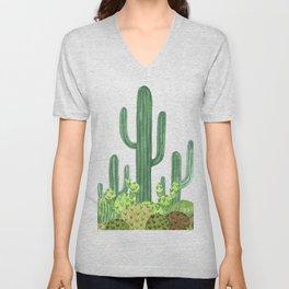 Desert Cacti on Black Unisex V-Neck