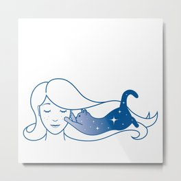 She was mostly dreaming of cats Metal Print