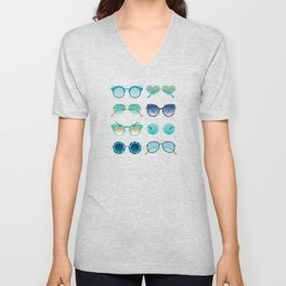 Sunglasses Collection – Turquoise & Navy Palette Unisex V-Neck