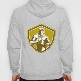 Rugby Player Running Fending Shield Retro Hoody
