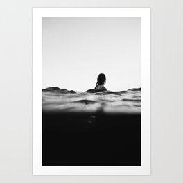 BLACK AND WHITE - OCEAN - WAVES - SEA - WATER - WOMAN Art Print