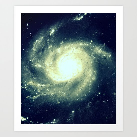 Ivory Teal Pinwheel Spiral Galaxy Space Art Print