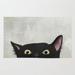 Curious Black Cat Rug