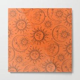 Orange Magic Celestial Sun Moon Stars Metal Print