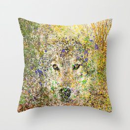 wolf in the bushes Throw Pillow