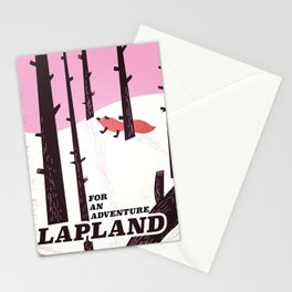 Lapland vintage travel poster Stationery Cards