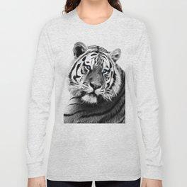 Black and white fractal tiger Long Sleeve T-shirt