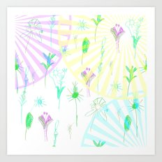 The figure of the boy . Flower meadow .  Art Print