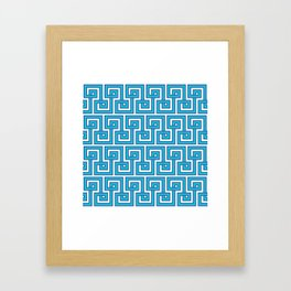 Greek Key - Turquoise Framed Art Print