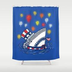 The Patriotic Shark Shower Curtain