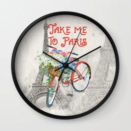 Vintage Red Bicycle with Flower Basket Paris Wall Clock