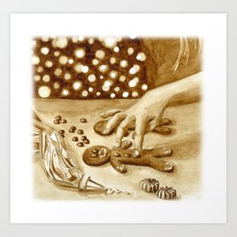 Gingerbread (coffee painting #3) Art Print