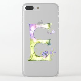 Letter E watercolor - Watercolor Monogram - Watercolor typography - Floral lettering Clear iPhone Case