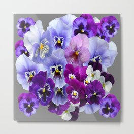 VARIEGATED PURPLE PANSY FLOWERS ART Metal Print