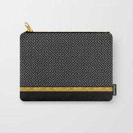Chic Black Gray Greek Key Gold Border Carry-All Pouch