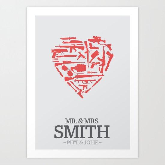 Mr. & Mrs. Smith - minimal poster Art Print