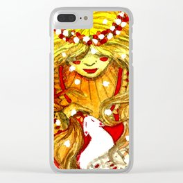 blonde witch with a cat Clear iPhone Case