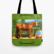 A Horse and Her Ball Tote Bag