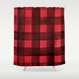 Buffalo Plaid Watercolor In Red Shower Curtain