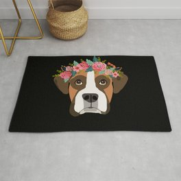 Boxer dog breed with floral crown cute dog gifts pure breed Boxers Rug
