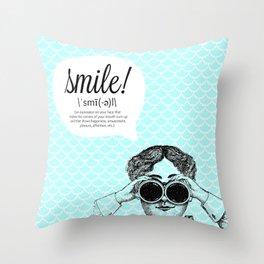 smile! (bright) Throw Pillow