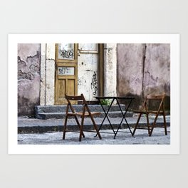 Table and Chairs - Catania - Sicily Art Print