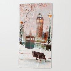 Tardis in the snow Beach Towel