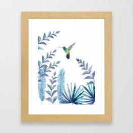 Hummingbird with tropical foliage Framed Art Print