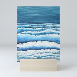 Watercolour waves crashing on the shore Mini Art Print