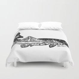 """""""Trout Dreams"""" Hand Drawn Double Exposure Fishing Camping Art Duvet Cover"""